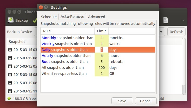 Automatically remove old snapshots