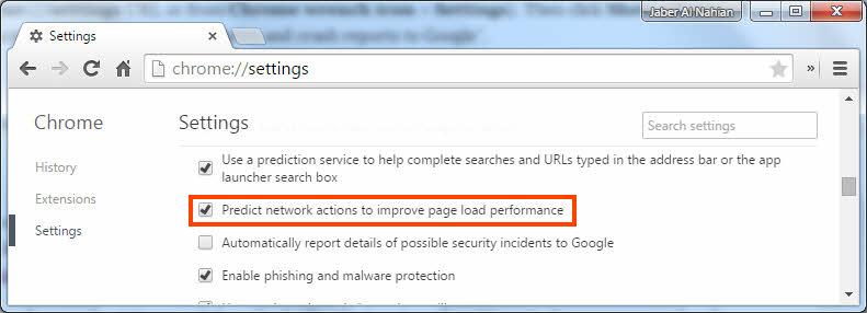 Enable Chrome preload