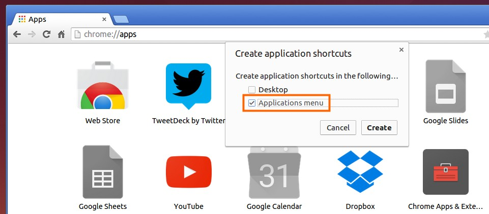 Create Application launcher shortcut