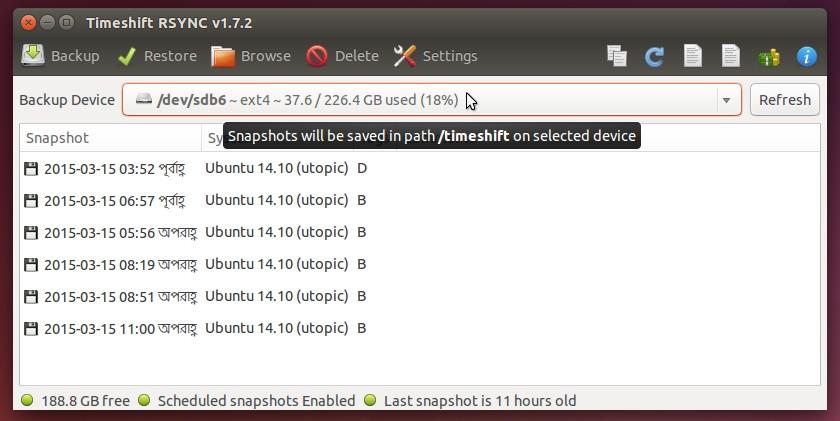 TimeShift backup device