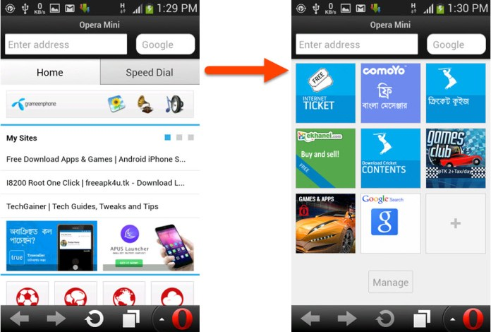 Remove or Disable Opera Mini Home tab of Smart Page