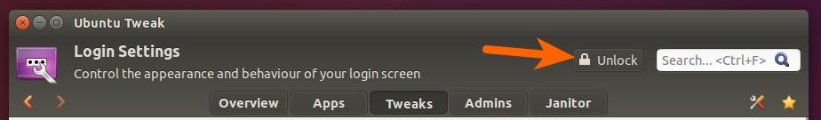 Unlock settings