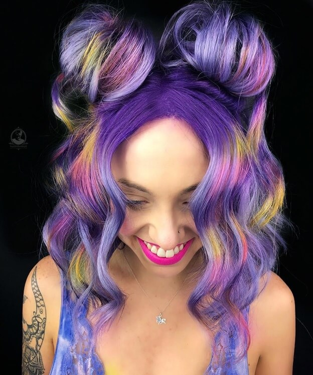 Purple With Yellow and Pink Highlights