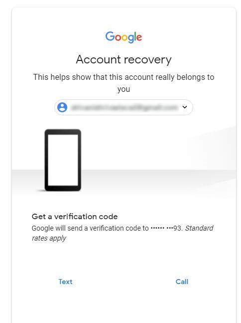 gmail forgot password verification code