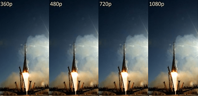 360p resolution, 480p resolution, 720p resolution or 1080p resolution
