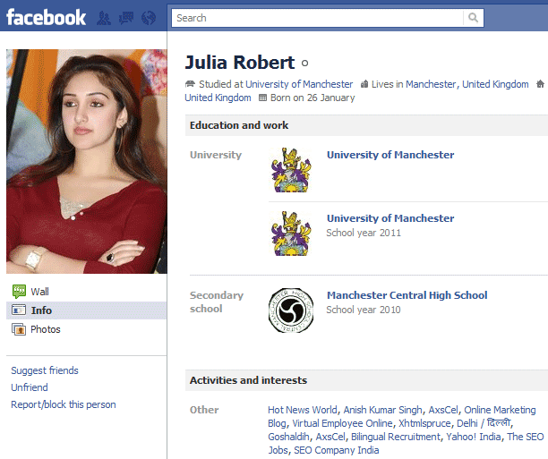 facebook profile fake