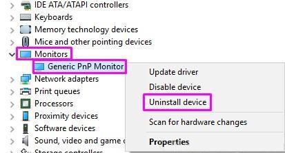Desinstalar el monitor PNP general del dispositivo