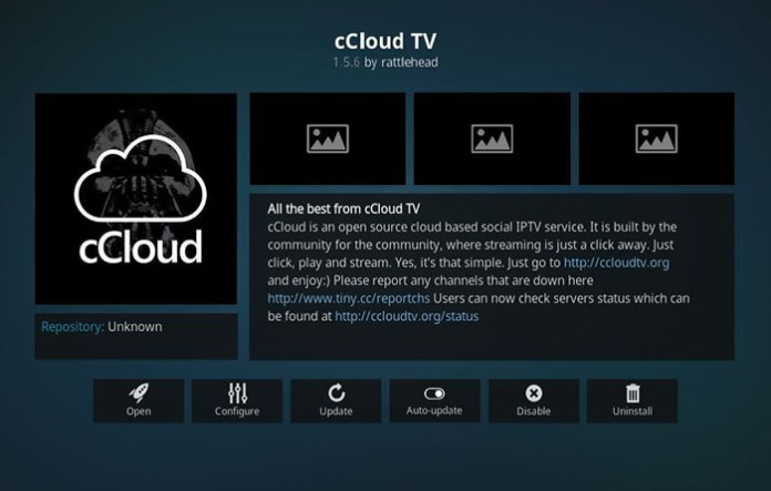 Boxing Kodi Addons - cCloud TV