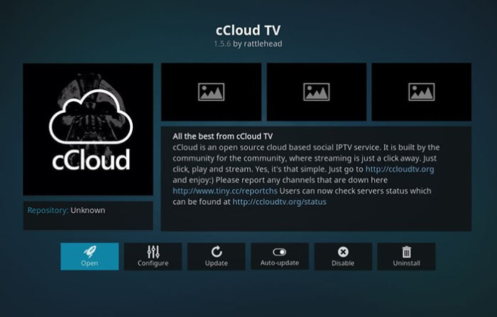 Live Sports Addons for Kodi - cCloud TV 1