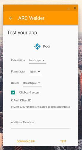 Install Kodi on Chromebook - Arc Welder 2