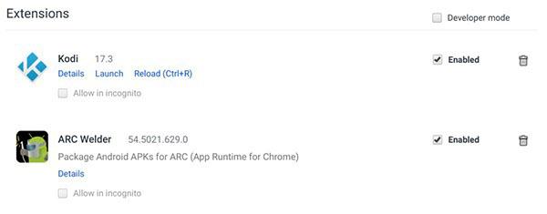 Install Kodi on Chromebook - Extensions