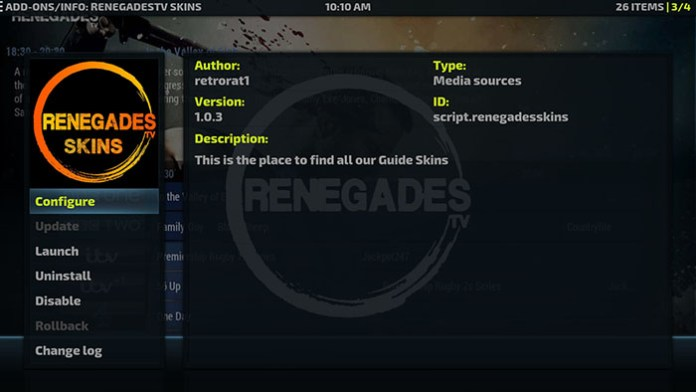 Install Kodi on Linux - Renegades TV Skin