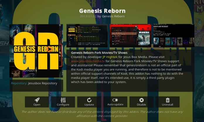 Genesis Reborn Addon for Kodi