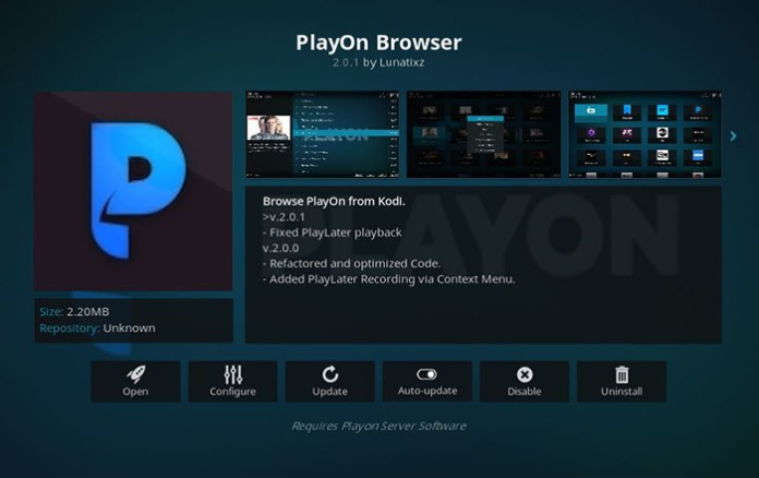 PlayOn Browser Super Bowl Kodi Addon
