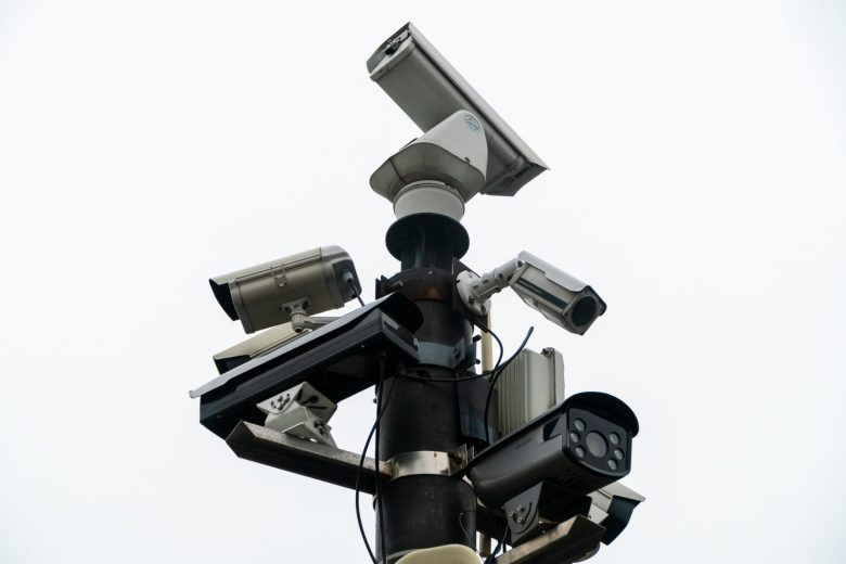Surveillance cameras watch closely as visitors walk around the Bund in Shanghai, China on April 4, 2019. (Image Credit: TechNode/Eugene Tang)