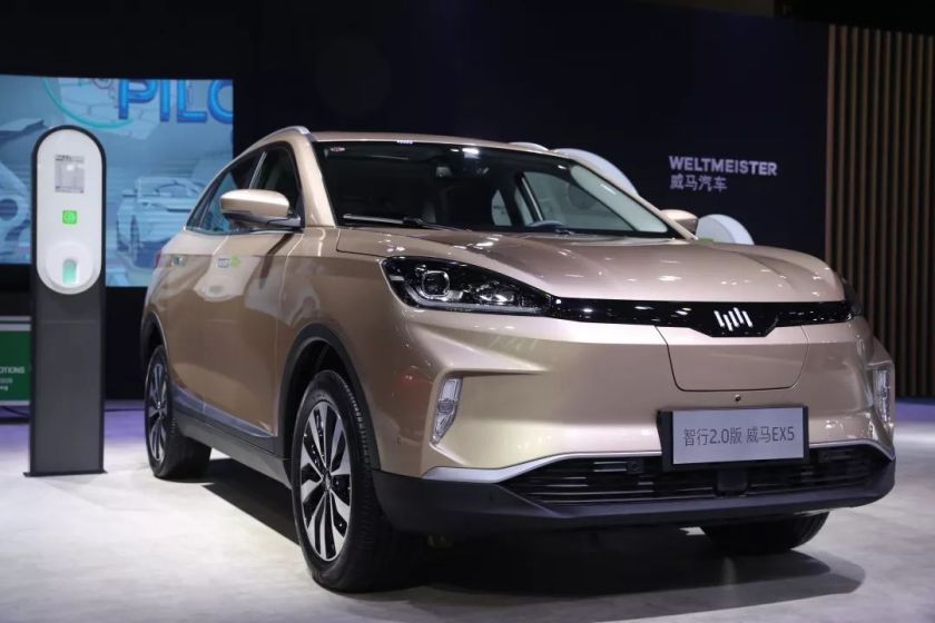 WM Motor showcased an updated version of its first production SUV model EX5 in a trade event in the southwestern Chinese city of Chengdu in September, 2019. (Image credit: WM Motor)