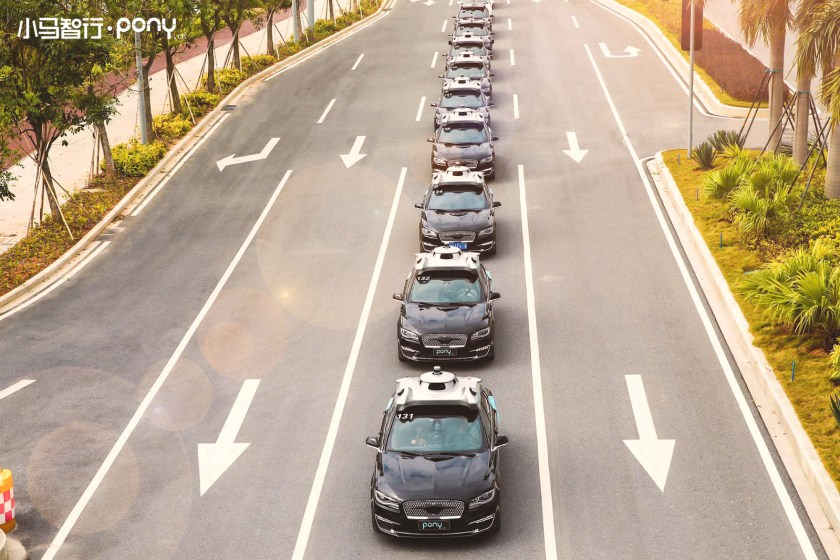 <em>Pony.ai showcased its fleet of self-driving cars enabled with PonyAlpha, a product-ready autonomous vehicle system, in the southern Chinese city of Guangzhou in 2018. (Image credit: Pony.ai) </em>