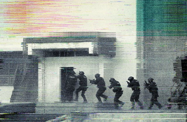 Illustration of a SWAT team entering a building.