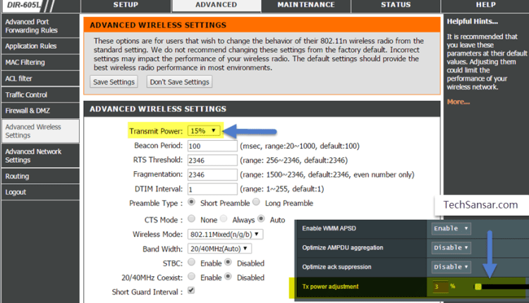 Adjusting transmit power in Advanced wireless settings in Dlink and Asus routers