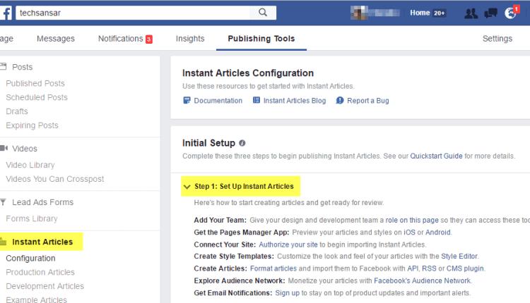 Facebook publishing tools interface
