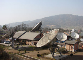 Hub Antennas at Sagarmatha Earth Station, Remote Ku-band VSAT Antennas for testing