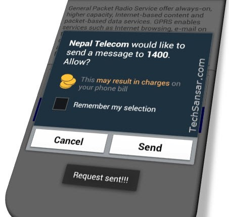 Nepal Telecom would like to send a message to 1400 – message on NT Android app