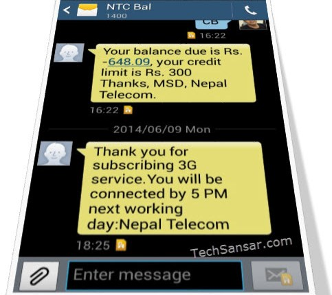 SMS confirming 3G service subscription with Nepal Telecom 3G network