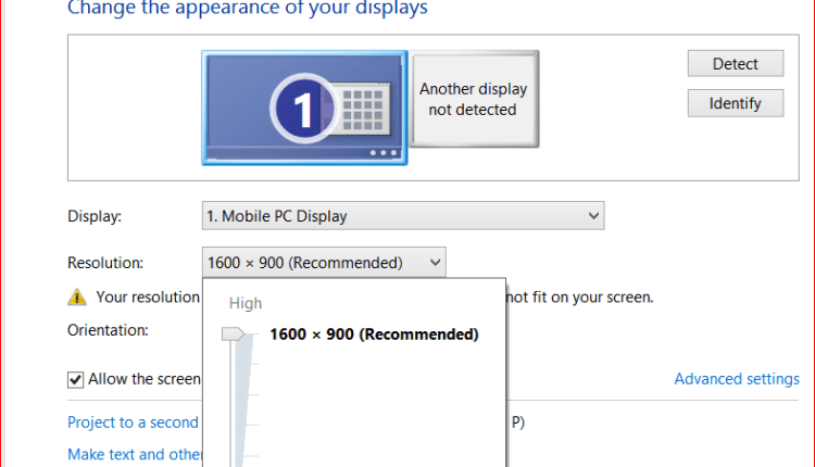 Changing appearance display screen pixel resolutions in Windows 8