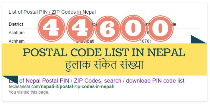 List of Nepal Postal PIN / ZIP Codes, search / download PIN code list