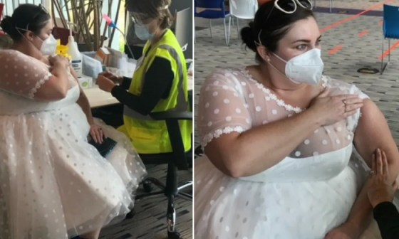 A Woman Who Was Vaccinated Against Corona In A Wedding Dress At The Same Time Why Do You Know