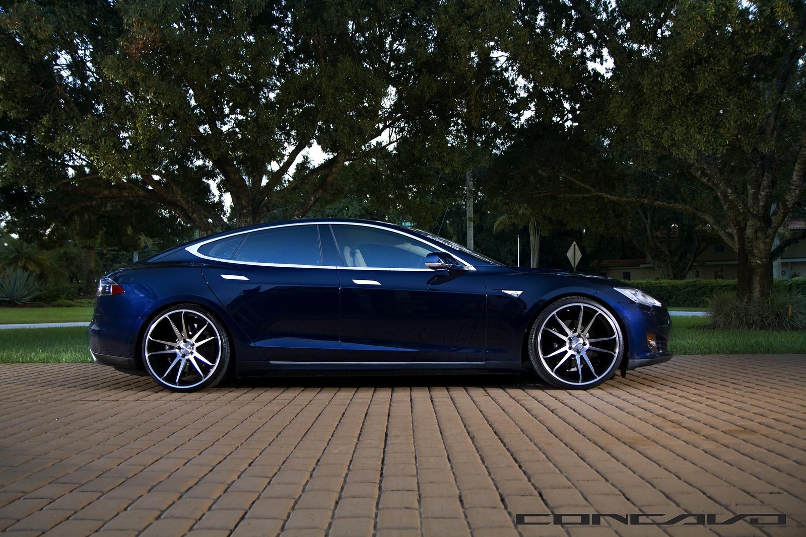 Matte Black Luxury Car Wallpaper Tesla Model S Aftermarket Wheels