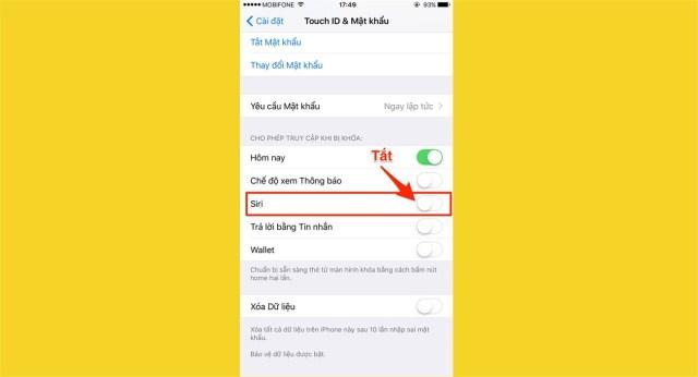 Ngăn không cho sử dụng Siri khi điện thoại bị khóa