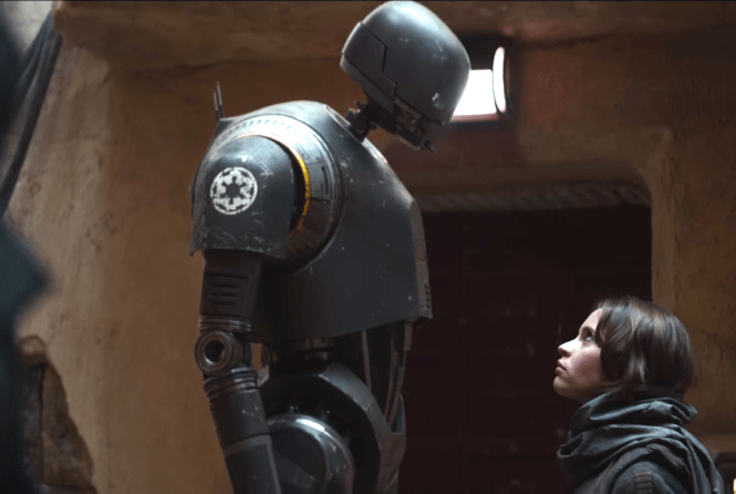 K-2SO's towering stature suits him as a sentry droid