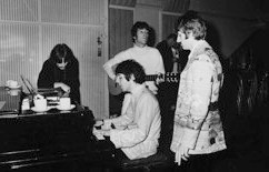 Beatles in a recording session at EMI Studios, Abbey Road, London, in 1967.