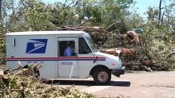 A U.S. Postal Service truck drives down a road lined by downed trees.