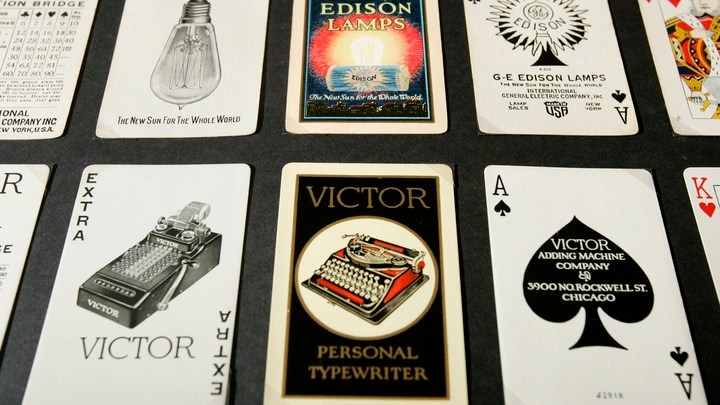 A grid of playing cards from different makers