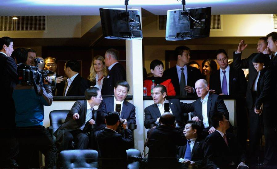 Xi Jinping watching the Lakers against the Suns in Los Angeles.