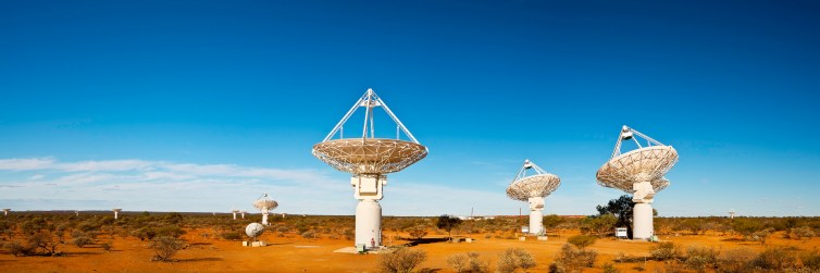 Generic telescope image set on picturesque Australian outback background. It's actually CSIRO's ASKAP antennas at the Murchison Radio-astronomy Observatory in Western Australia. CSIRO has a great image library. Neal Pritchard