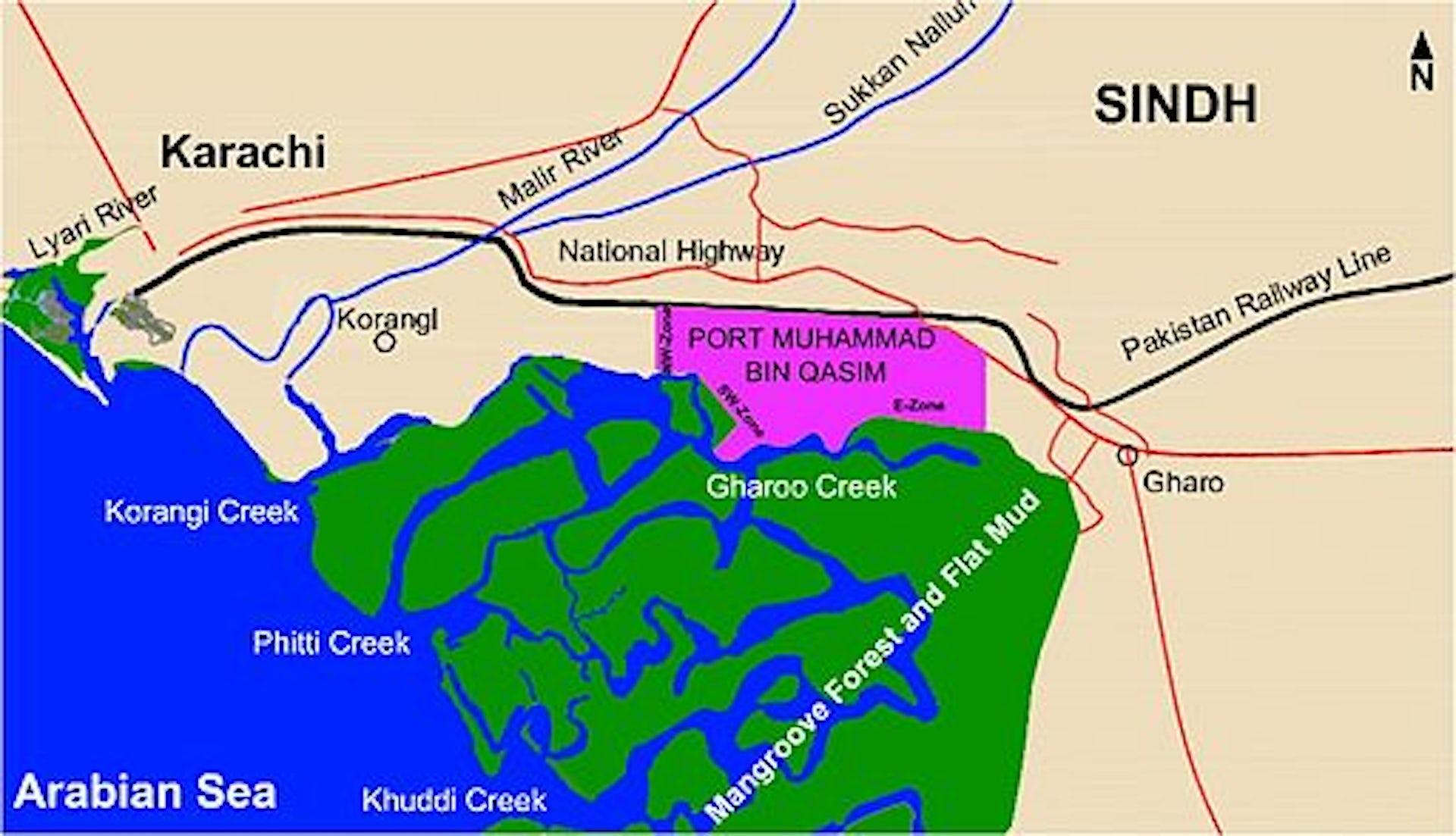 Location Map Of The Port Qasim Project In Karachi, Pakistan Source:  Wikimedia