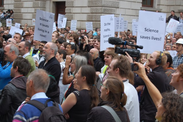 Scientists protest against proposed cuts against science in the UK in 2010. Shane/Flickr, CC BY-SA