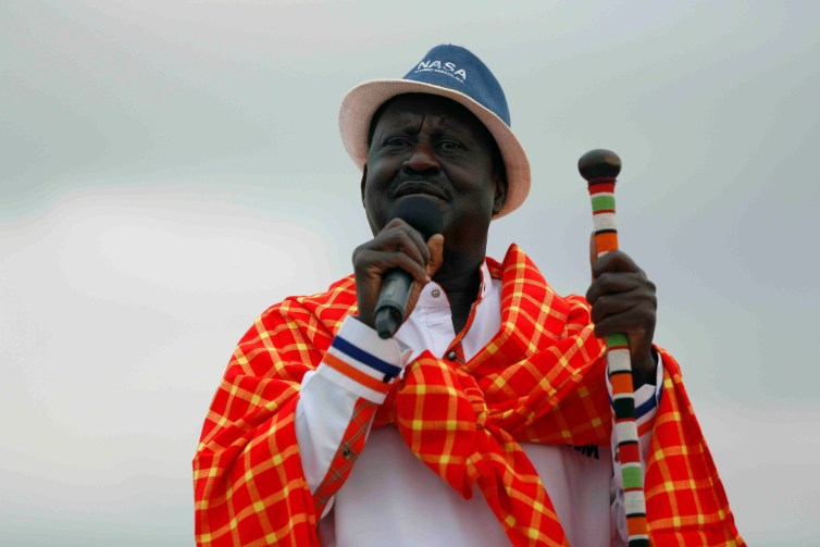 Kenyan opposition leader and presidential candidate Raila Odinga addressing a rally. Credit: Reuters/Baz Ratner
