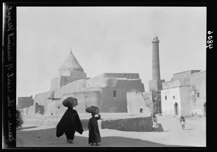 A 1932 photograph showing the minaret of the Great Mosque of al-Nuri, Mosul. Library of Congress Prints and Photographs Division Washington, D.C.
