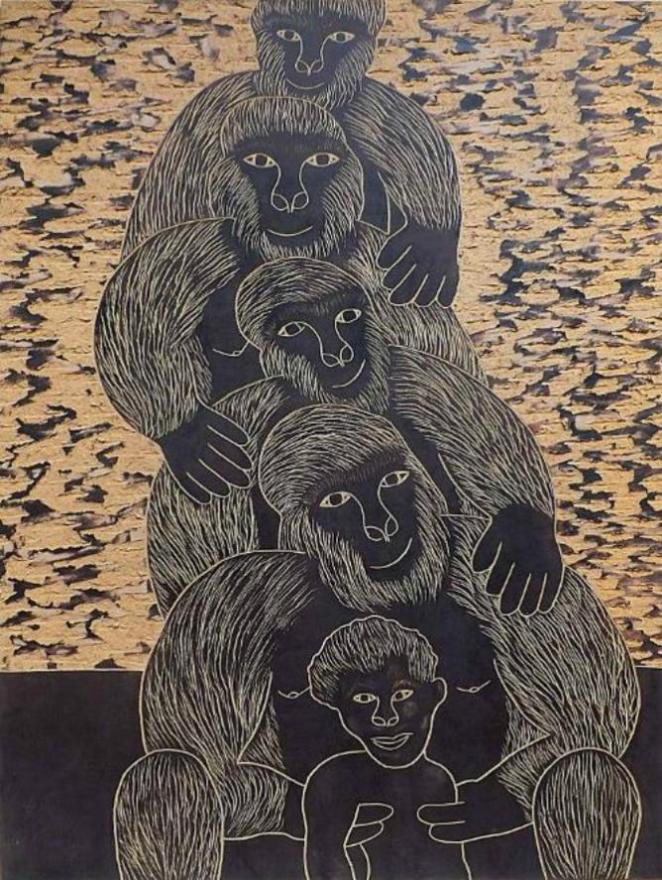 Chelenge Van Rampelberg, Evolution, Gorillas on my Mind Exhibition | Courtesy One Off Contemporary Art Gallery