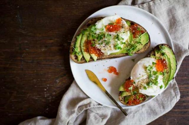 Avocado Toast with Poached Egg, Salmon Roe, and Seaweed Gomashio | Courtesy of Brooke Bass/Chocolate + Marrow