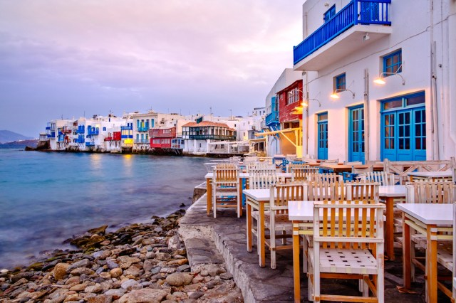 Beautiful sunrise at Little Venice on Mykonos island, Cyclades, Greece © Martin M303 / Shutterstock
