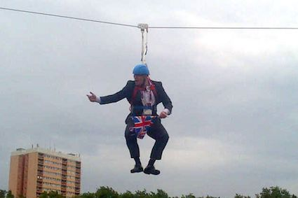 Johnson to spend leadership campaign dangling from a zip-wire in Macclesfield