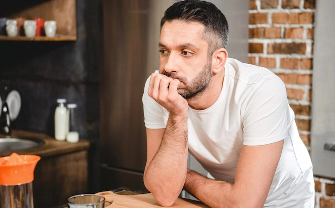 Bored man wondering if you can put soup in a Soda Stream