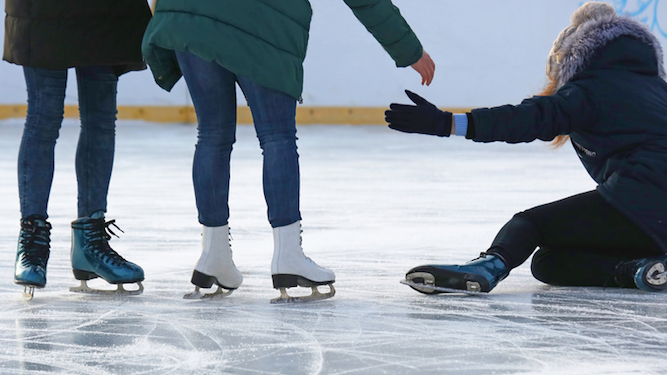 Seeing people fall over on ice rink best Winter Wonderland attraction