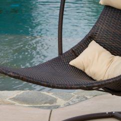 Wicker Hammock Chair Linen Chairs Brown Hanging Swing  Gadget Flow