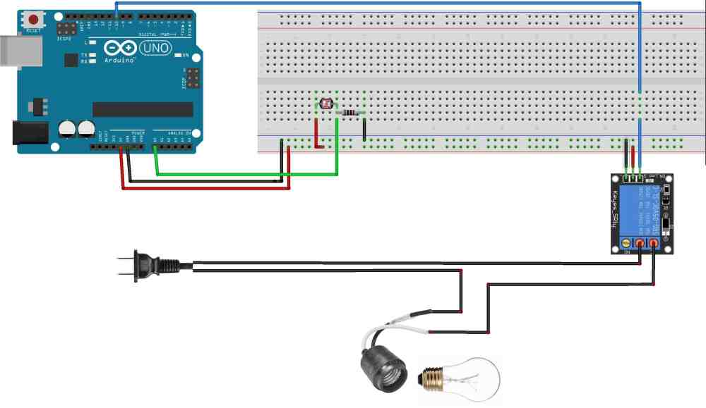 medium resolution of although in this arduino night light diagram we ve shown the lamp wire spliced and connected i would actually recommend you do this to an extension cord